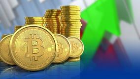 rangée des bitcoins 3d illustration stock