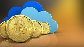 rangée des bitcoins 3d Photos stock