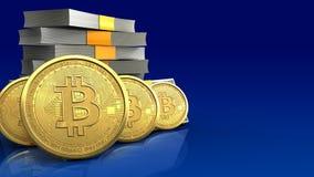 rangée des bitcoins 3d Photographie stock libre de droits