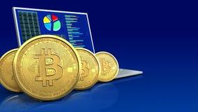 rangée des bitcoins 3d Images stock