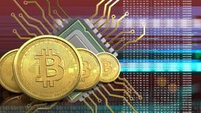 rangée des bitcoins 3d Photos libres de droits