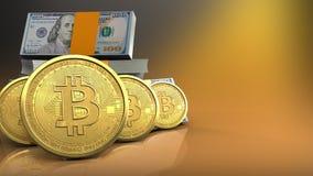 rangée des bitcoins 3d Photographie stock