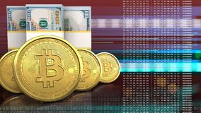 rangée des bitcoins 3d Image stock