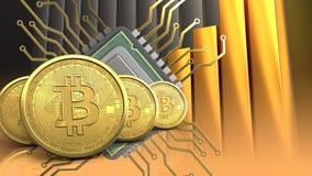 rangée des bitcoins 3d Images libres de droits