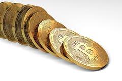 Rangée des bitcoins s'effondrant comme effet de domino Position incertaine de bitcoin sur le concept du marché illustration stock