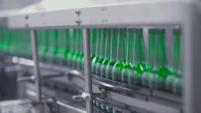 Rangée des bouteilles en verre vides dans la ligne robotique d'usine banque de vidéos