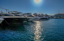 Rangée des canots automobiles luxueux dans la marina de Limassol Photographie stock