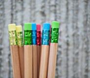 Rangée des crayons de couleur sur le fond gris studio Images libres de droits