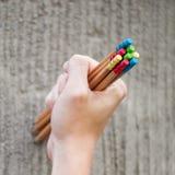 Rangée des crayons de couleur sur le fond gris studio Photographie stock
