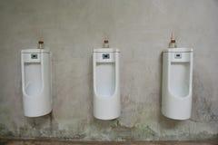 Rangée des hommes blancs extérieurs d'urinoirs Photographie stock libre de droits