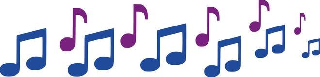 Rangée des notes de musique illustration de vecteur