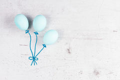 Rangée des oeufs bleus avec la jonquille Photo libre de droits