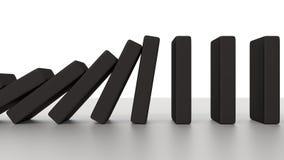 Rangée en baisse de domino sur le bureau Photo libre de droits