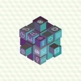 Rangée infographic de projection isométrique de cubes Photographie stock libre de droits