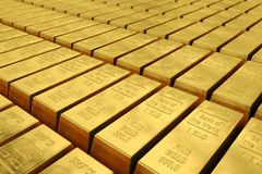 Rangées des barres d'or Images libres de droits