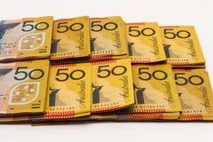 Rangées des notes de l'Australien $50 Images stock