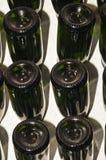 Rangées du scintillement espagnol, vin blanc en tenant le support dans une cave d'établissement vinicole photos libres de droits