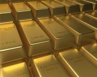 Rangées et rangées des barres d'or empilées Photographie stock libre de droits
