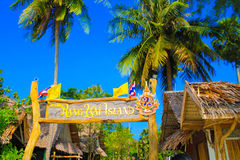 Rang Yai island. Welcome board in Phuket Stock Photos