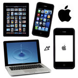 Apple products - isolated for cutout Royalty Free Stock Images