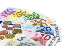 Range banknotes and coins euro - isolated Royalty Free Stock Photos