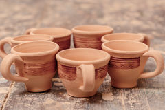 Range of clay pottery Royalty Free Stock Image