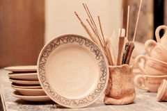 Range of clay pottery Stock Photography