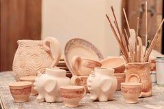 Range of clay pottery Stock Image