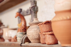 Range of clay pottery Royalty Free Stock Photos