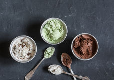 Range of coconut milk ice cream with chocolate, matcha powder, chocolate chips and vanilla. Gluten free vegetarian dessert Royalty Free Stock Images