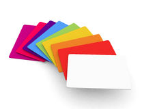Range of coloured blank credit card or business card size templa. 3d render on a white background Stock Photos