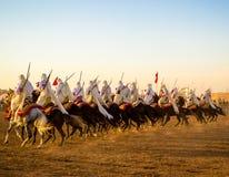 Rangée de cavaliers de fantaisie Photographie stock