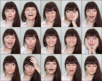 Collage of different emotions on the face of the girl Royalty Free Stock Images