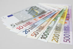 Range of Euro bank notes Stock Photos