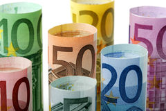 Range of Euro banknotes rolls Stock Photography