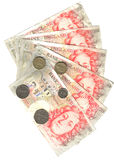Range of fifty pounds and coins Royalty Free Stock Photography