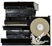 Range of hard drives isolated on white background Royalty Free Stock Photography