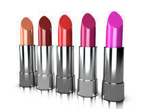 A range of lipstick colours. 5 different lipstick colours for a cosmetic line Royalty Free Stock Images