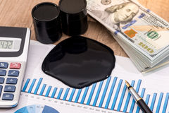 Range of oil prices in dollars, calculator. On the table Royalty Free Stock Photography