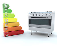 Range Oven and Energy Ratings. 3D Render of a Range Cooker and Energy Ratings Stock Photo