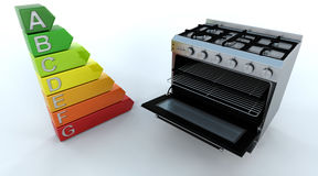 Range Oven and Energy Ratings. 3D Render of a Range Cooker and Energby Ratings Stock Photos
