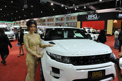 Range Rover Evoque à un Salon de l'Automobile Image stock