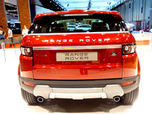 Range Rover Evoque Back View. ABU DHABI, UAE - DECEMBER 10: Range Rover Evoque on display during Abu Dhabi Int'l Motor Show 2010 at Abu Dhabi Int'l Exhibition Royalty Free Stock Image