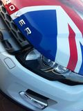 Range Rover Evoque hood. With the image of the British flag Royalty Free Stock Photo