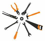 Range of tools. Orange and black vector tool Stock Photos