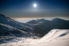 Range of winter mountains at night Royalty Free Stock Photos