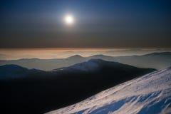 Range of winter mountains at night Stock Image