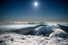 Range of winter mountains at night Stock Photo