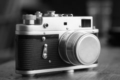Rangefinder camera. Old vintage russian rangefinder camera Stock Photography