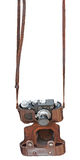 Rangefinder camera. Vintage rangefinder camera in leather case isolated. Clipping path included Stock Images